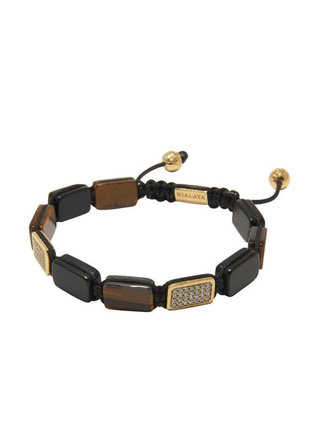 Men's Flatbead Bracelet with Matte Onyx and Brown Tiger Eye - Nialaya Jewelry  - 3