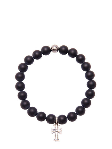 Men's Beaded Bracelet with Matte Onyx