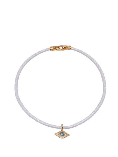 White Leather Choker with Evil Eye Charm - Nialaya Jewelry  - 1