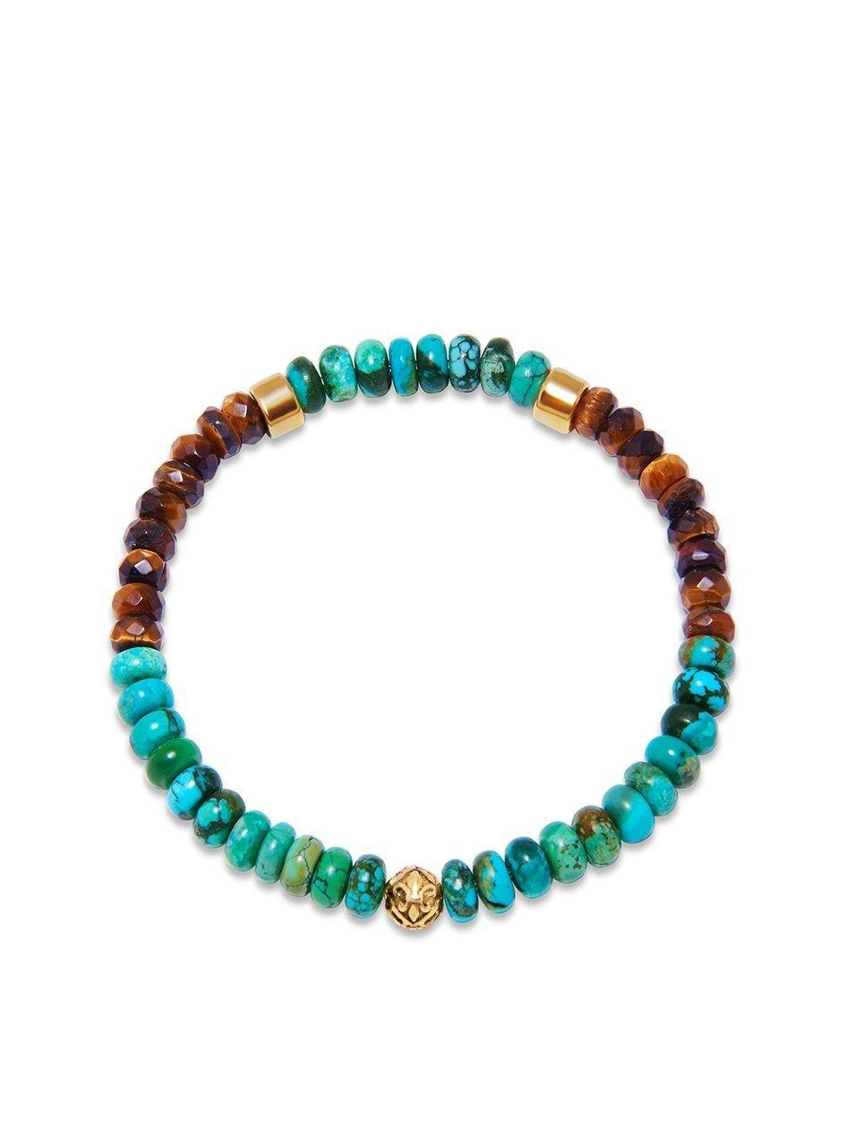 Men's Wristband with Brown Tiger Eye and Turquoise - NIALAYA INC
