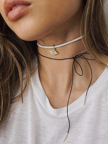 White Leather Choker with Evil Eye Charm - Nialaya Jewelry  - 2