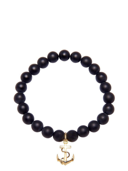 Men's Wristband with Matte Onyx and Gold Anchor - Nialaya Jewelry  - 1