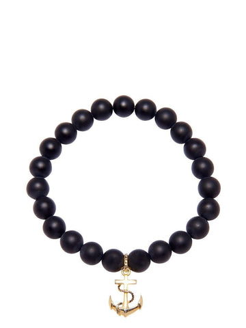 Men's Wristband with Matte Onyx and Gold Anchor