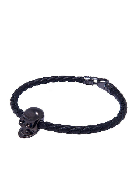 Men's Black Leather Bracelet With Black Skull Bead - Nialaya Jewelry  - 1
