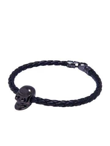 Men's Black Leather Bracelet With Black Skull Bead