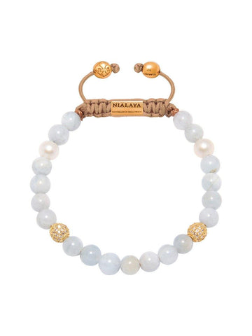 Women's Beaded Bracelet with Aquamarine and Pearls