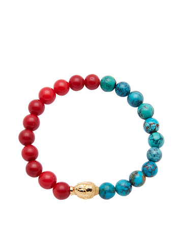 Men's Wristband with Red Coral, Bali Turquoise and Gold Buddha