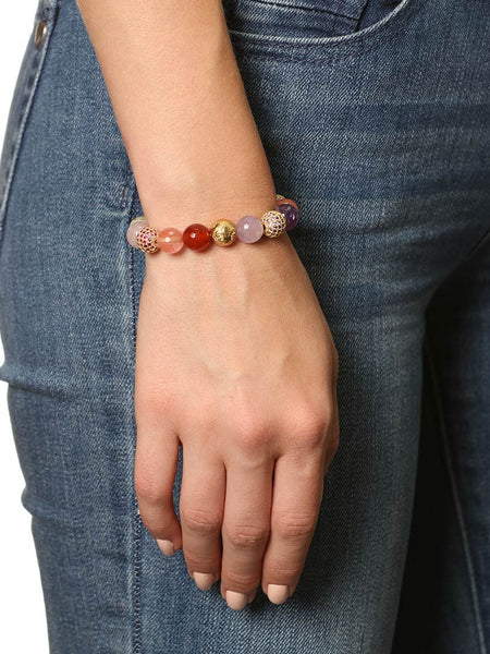 Women's Beaded Bracelet with Carnelian, Cherry Quartz, Amethyst, Rose Quartz and Opal - Nialaya Jewelry  - 2