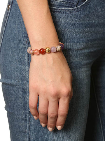 Women's Beaded Bracelet with Carnelian, Cherry Quartz, Amethyst, Rose Quartz and Opal - Nialaya Jewelry  - 3