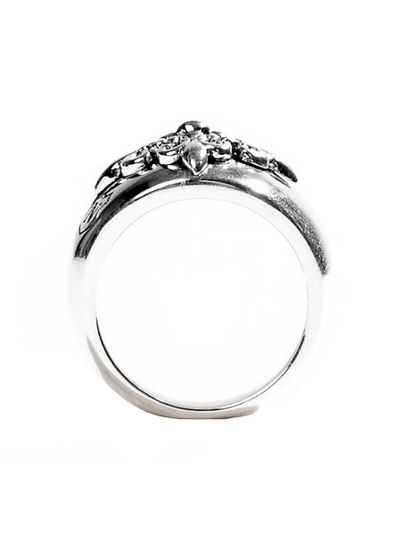 Sterling Silver Crest Ring - Nialaya Jewelry  - 4