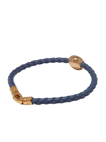 Men's Grey Leather Bracelet With Gold Skull Bead - Nialaya Jewelry  - 3