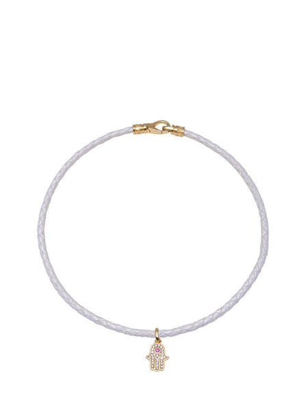 White Leather Choker with Hamsa Hand Charm - Nialaya Jewelry  - 1