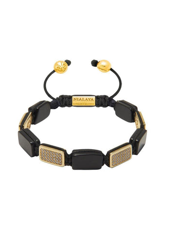Men's Flatbead Bracelet with Matte Onyx and Gold