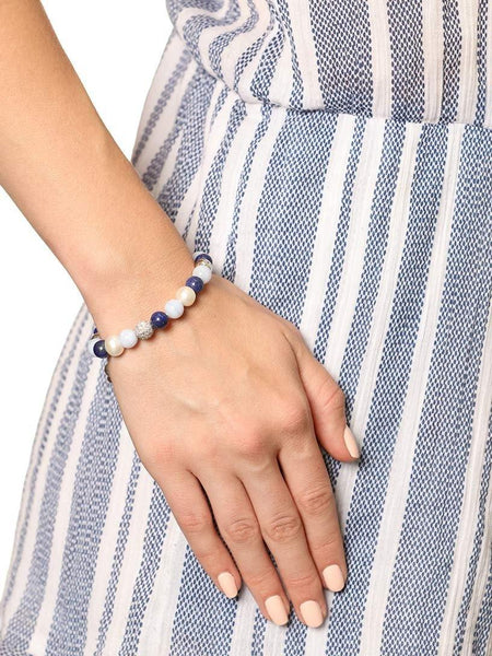 Women's Beaded Bracelet with Blue Lapis, Blue Lace Agate, and White Sea Pearl - Nialaya Jewelry  - 2
