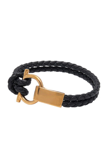 Men's Black Leather Bracelet with Gold Hook Closure
