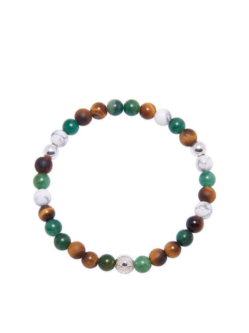 Men's Wristband with Brown Tiger Eye, Turquoise and Howlite