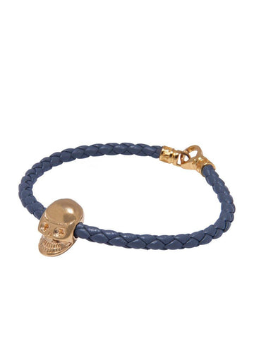 Men's Grey Leather Bracelet With Gold Skull Bead