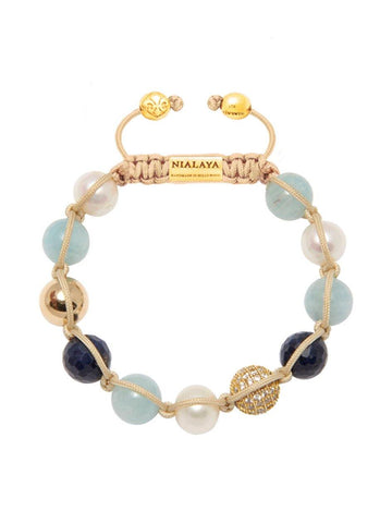 Women's Beaded Bracelet with Aquamarine, Sapphire and Pearl