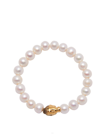 Women's Wristband with White Pearls and Gold Buddha