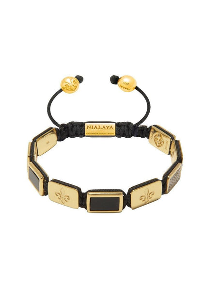 Men's Flatbead Bracelet with Matte Onyx and Gold - Nialaya Jewelry  - 1