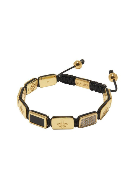 Men's Flatbead Bracelet with Matte Onyx and Gold - Nialaya Jewelry  - 2