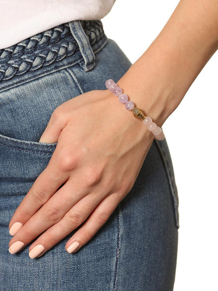 Women's Wristband with Amethyst Lavender, Rose Quartz and Gold Buddha - Nialaya Jewelry  - 2