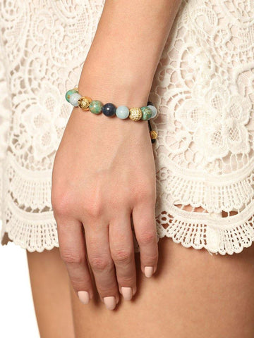 Women's Beaded Bracelet with Aquamarine, Blue Coral, Bali Turquoise and Gold - Nialaya Jewelry  - 2