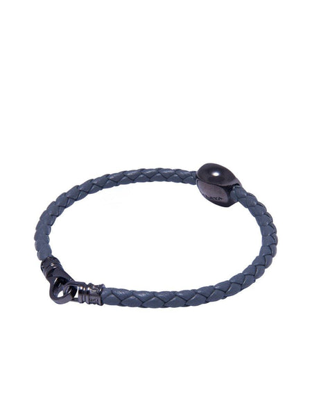 Men's Grey Leather Bracelet With Black Skull Bead - Nialaya Jewelry  - 3