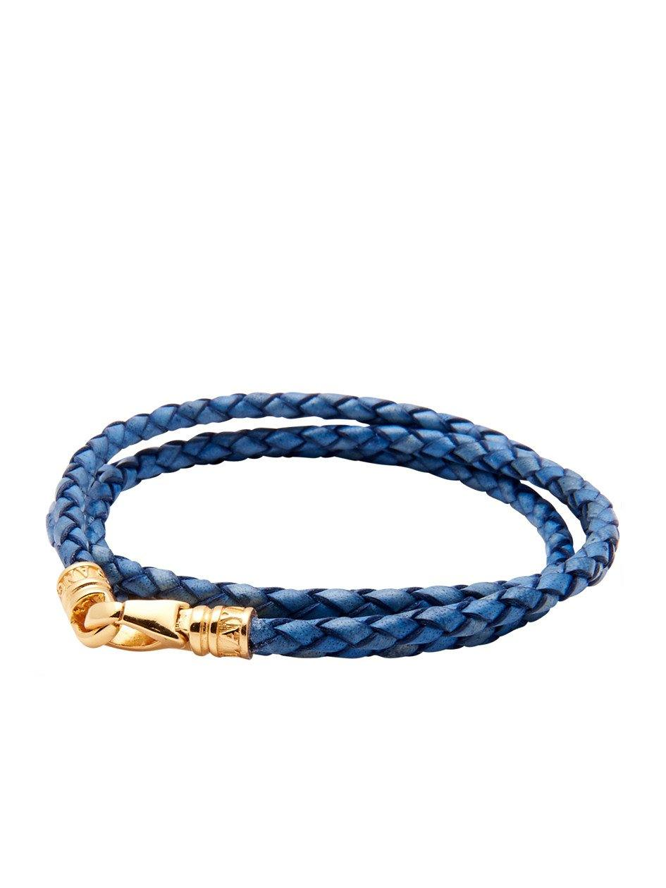 Leather Blue Bolo Cord with Gold Plated Lock - Nialaya Jewelry  - 1