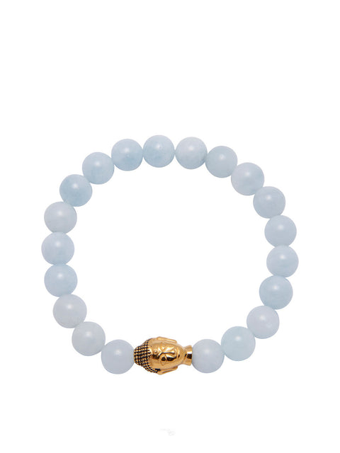 Women's Wristband with Aquamarine and Gold Buddha - Nialaya Jewelry  - 1