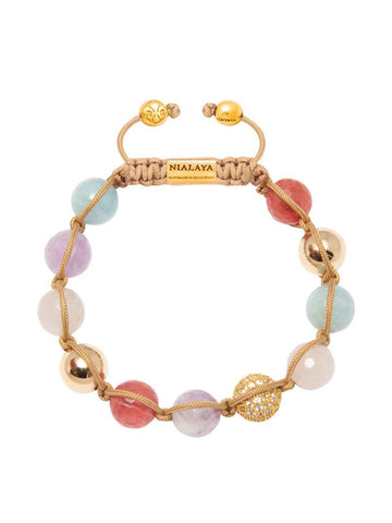 Women's Beaded Bracelet with Rose Quartz, Cherry Quartz and Aquamarine