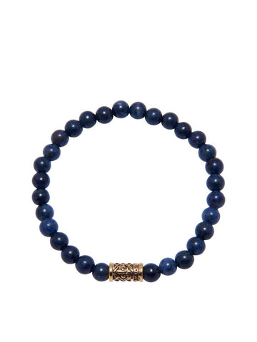 Men's Wristband With Blue Tiger Eye