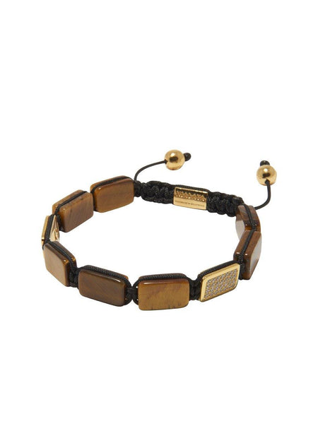 Men's Flatbead Bracelet with Brown Tiger Eye - Nialaya Jewelry  - 2