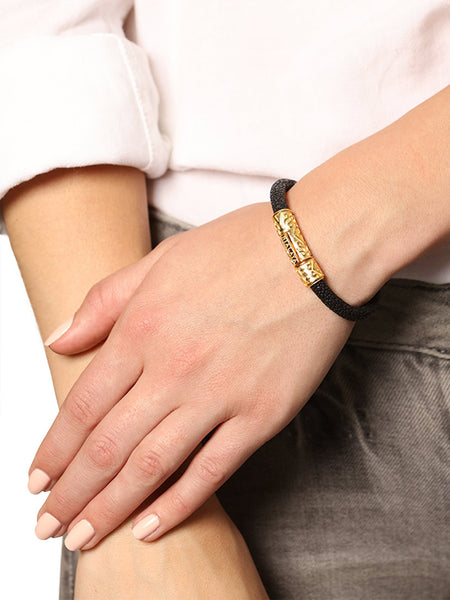 Women's Black Stingray Bracelet with Gold Lock - Nialaya Jewelry  - 2