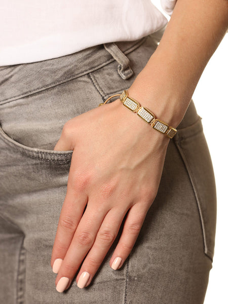 Flatbead Bracelet LUX Plate Gold & White CZ Diamonds - Nialaya Jewelry  - 2