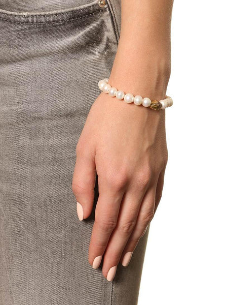 Women's Wristband with White Pearls and Gold Buddha - Nialaya Jewelry  - 2
