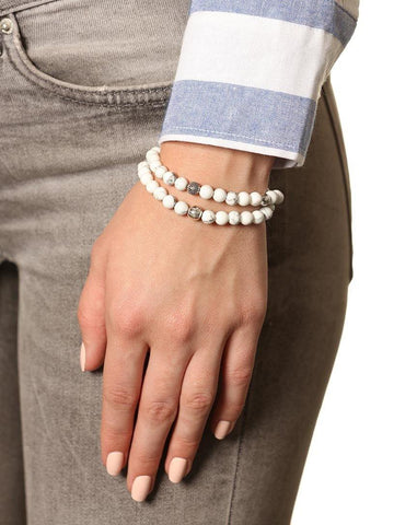 Wrap Bracelet With Silver Bead Hollow - Nialaya Jewelry  - 2