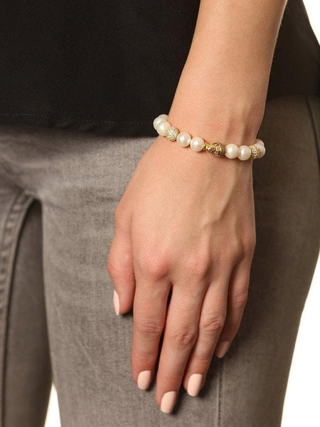 Women's Beaded Bracelet with White Pearls and Gold Buddha - Nialaya Jewelry  - 2