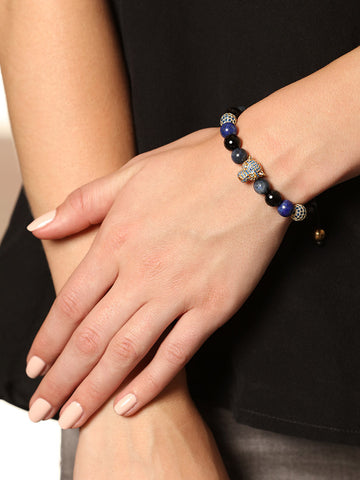 Women's Beaded Bracelet with Blue Lapis, Blue Coral and Blue CZ Diamond Panther Head - Nialaya Jewelry  - 4