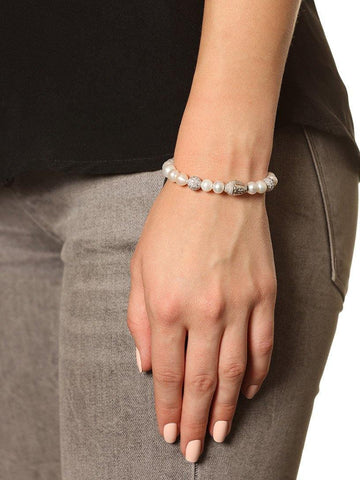 Women's Beaded Bracelet with White Pearl and Silver Buddha - Nialaya Jewelry  - 2