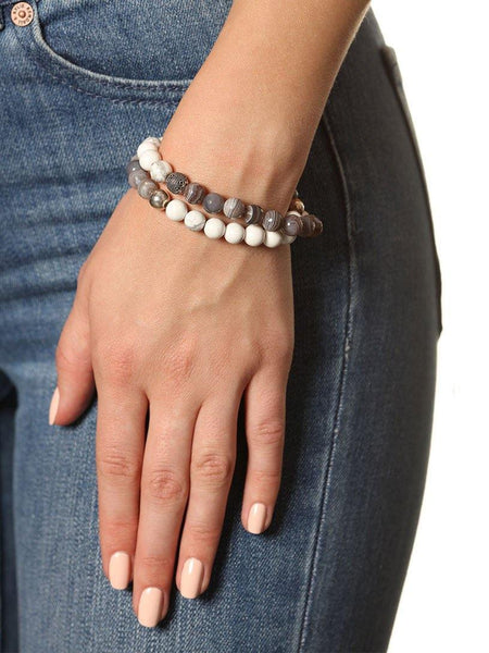 Wrap Bracelet With Silver Cairo Bead - Nialaya Jewelry  - 2