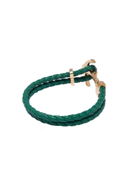 Men's Green Leather Bracelet with Gold Anchor - Nialaya Jewelry  - 3