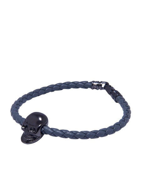 Men's Grey Leather Bracelet With Black Skull Bead - Nialaya Jewelry  - 1