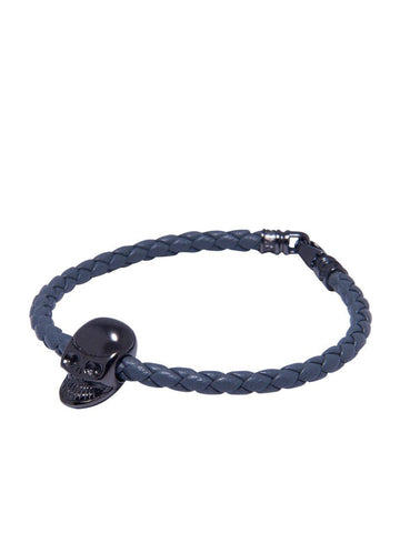 Men's Grey Leather Bracelet With Black Skull Bead