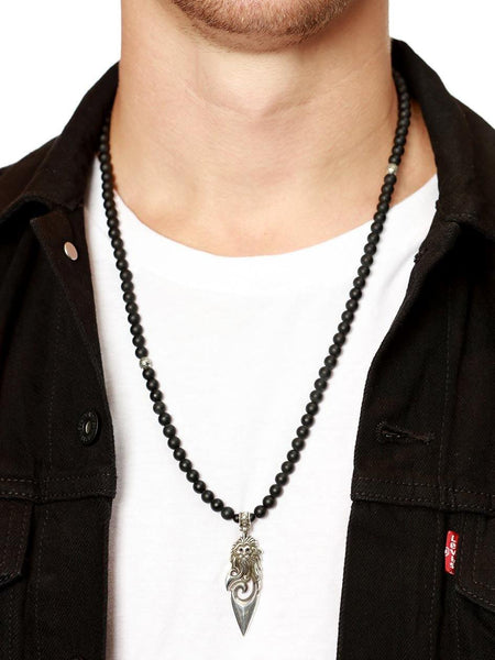 Men's Beaded Necklace with Matte Onyx and Silver Lion Pendant - Nialaya Jewelry  - 2
