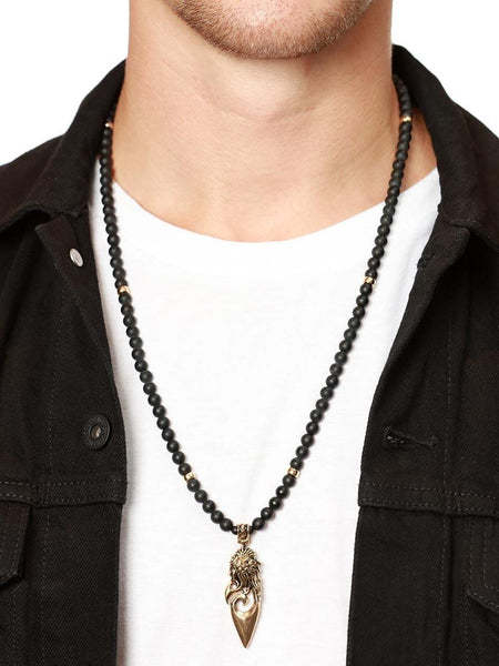 Men's Beaded Necklace with Matte Onyx and Gold Lion Pendant - Nialaya Jewelry  - 2