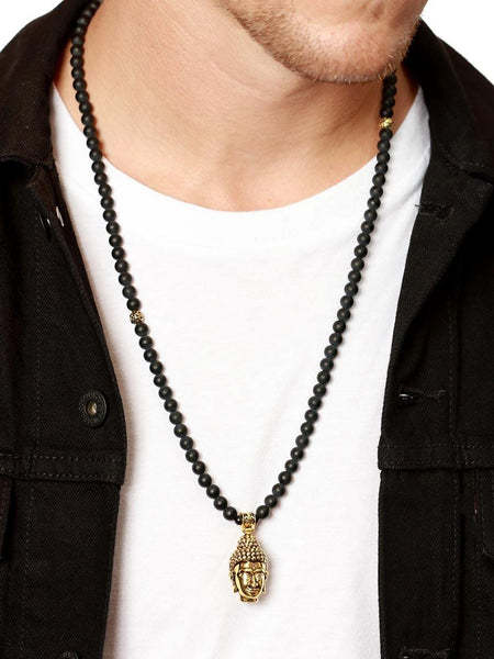 Men's Beaded Necklace with Matte Onyx and Gold Buddha Head - Nialaya Jewelry  - 2