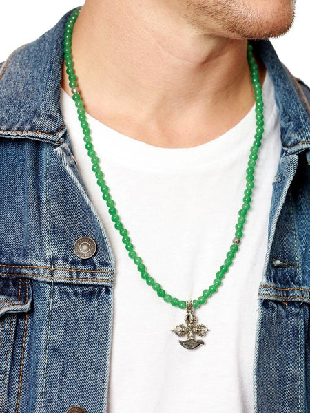 Men's Beaded Necklace with Green Agate and Cross Pendant - Nialaya Jewelry  - 2