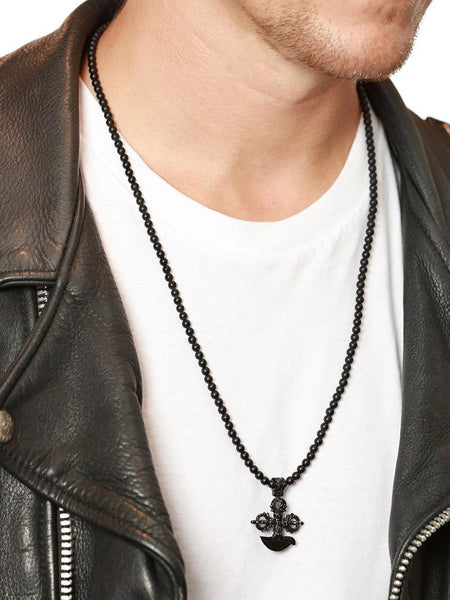 Men's Beaded Necklace with Matte Onyx and Black Cross Pendant - Nialaya Jewelry  - 2