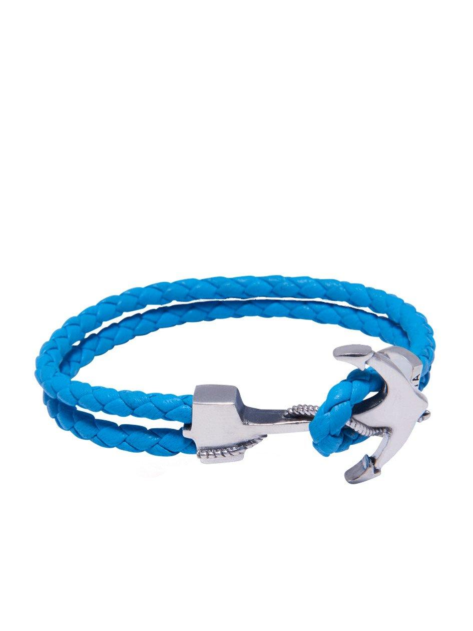 Men's Blue Leather Bracelet with Silver Anchor - Nialaya Jewelry  - 1